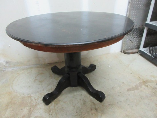 Traditional Pedestal Round Dining Table Black Finish w/ Oak Trim