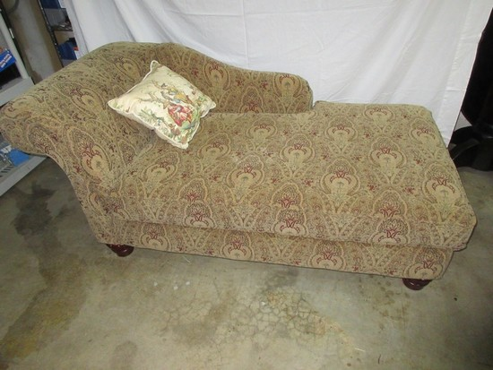 Advantage Furniture Chaise Lounge on Bun Feet w/ Accent Pillow
