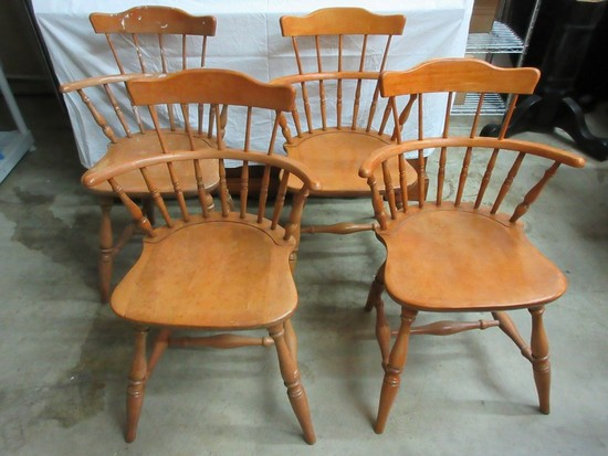 Set - 4 Maple Comback Windsor Chairs Ring Turned Legs
