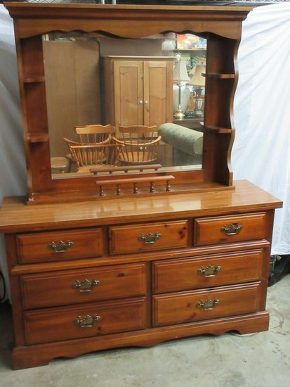 Broyhill Furniture Lenoir House Collection Knotty Pine Double Dresser