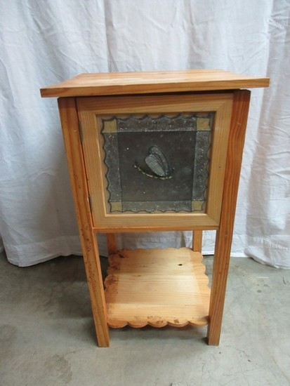 Pine Natural Finish Side Table w/ Butterfly Panel Door & Scalloped Base Shelf