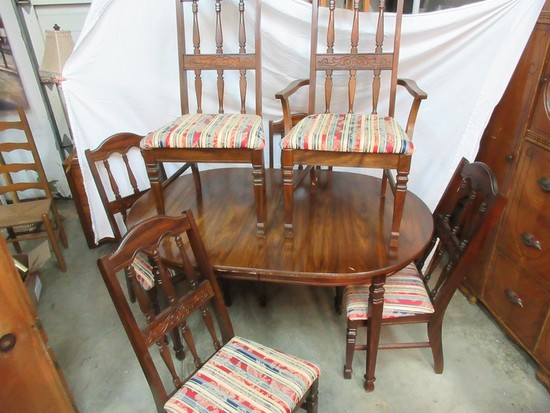 Trogdon Furniture Co. Spanish Revival Style Dining Table w/ 6 Upholstered Seat Chairs