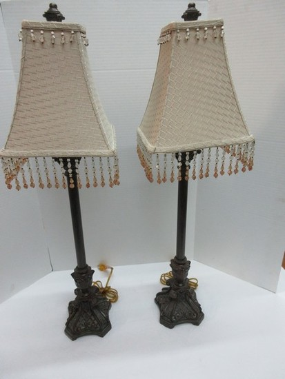 Pair - French Style Resin Lattice & Scrolled Acanthus Leaves Design Base Banquet Lamps