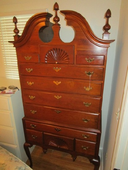 Queen Anne Style Highboy by Harden Repro Furniture Mahogany w/ Pine Drawer
