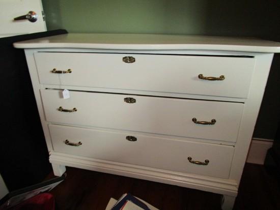 Vintage White Wooden 3 Drawer Dresser Brass Pulls/Escutcheons Serpentine Front