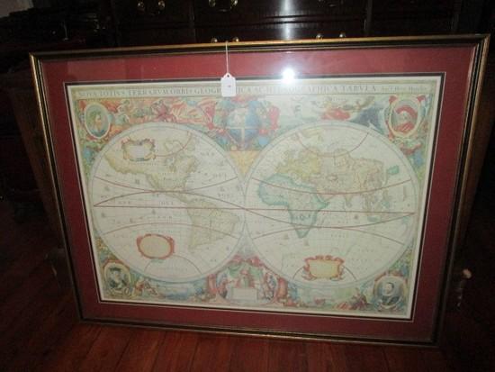 Vintage/Antique Design Olde World Map in Black/Gilted Frame/Matt