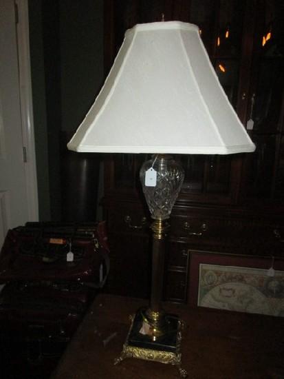 Waterford Crystal Diamond-Cut/Brass Column Body Lamp, Lion Paw Feet, Black Marble Base
