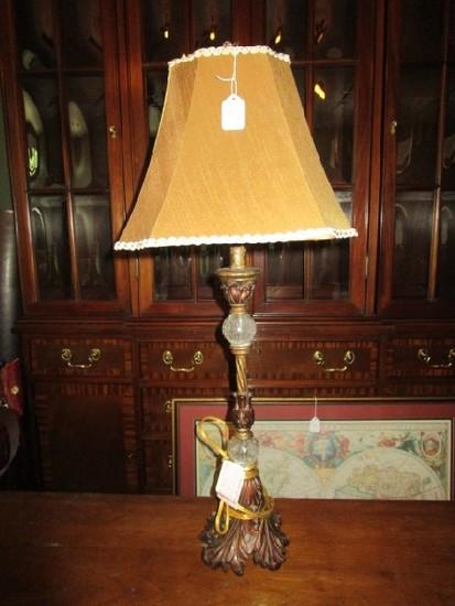 Oak Leaf Motif, 2 Crackle Glass Orbs Lamp w/ Shade, Urn Design Finial