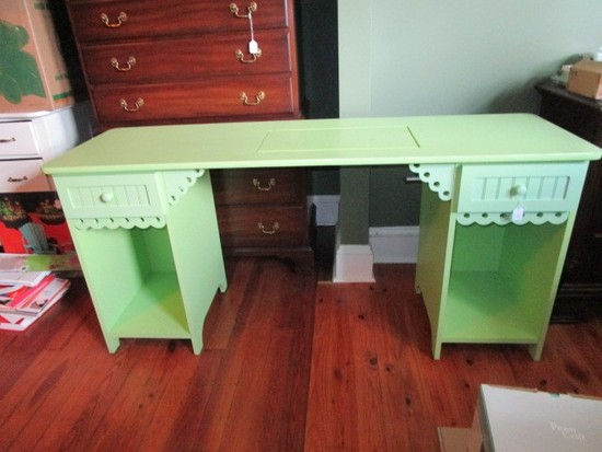 Olivia Sewing Cabinet Pistachio Green, 2 Drawers, 1 Inlay Organizer Space, Curved Skirt