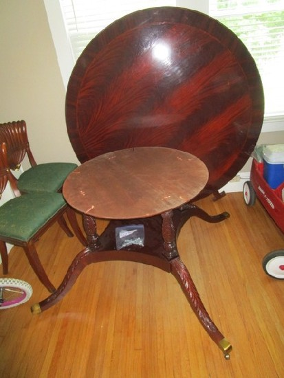 Mahogany Wooden Round Dining Table Top by Hickory Chair Co.