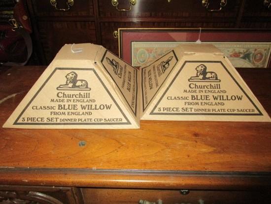 2 Churchill England Classic Blue Willow 3 Piece Set Dinner Plate, Cup & Saucer