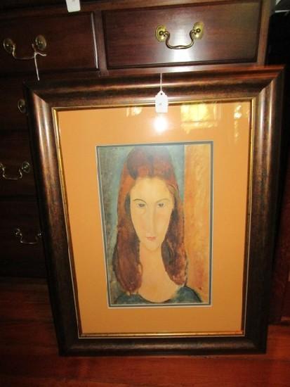 Woman Portrait Print in Antique/Wood Patina Frame/Matt