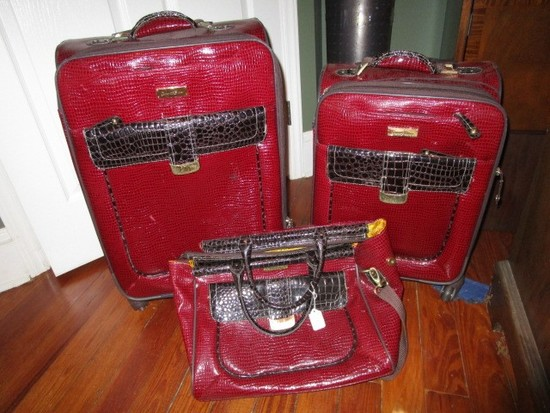 Samantha Brown Red 3-Piece First Class Luggage Set on Casters
