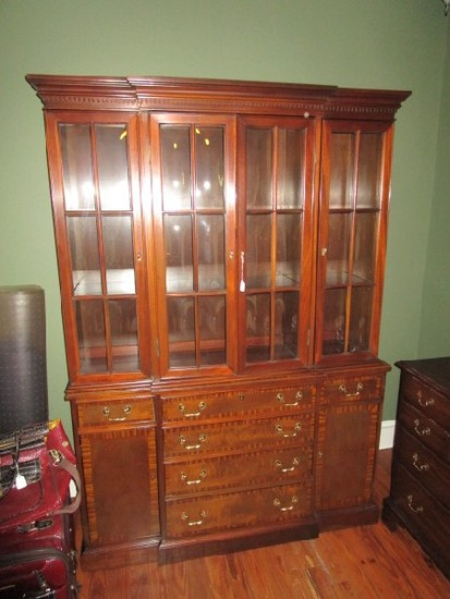 Council Mahogany China Cabinet w/ Silverware Drawer, 6 Drawers, 2 Side Doors