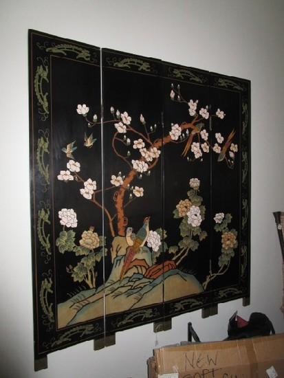 4 Panel Wooden Carved Folding Divider, Asian Design