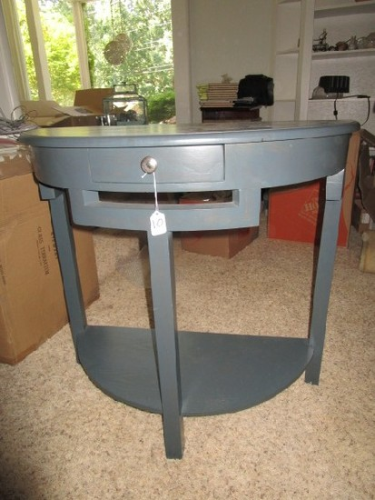 Wooden Half-Circle Blue Entry Table w/ 1 Drawer Metal Pull, 2 Tier