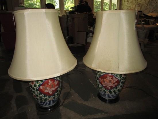 Pair - Asian Motif/Design Urn Lamp Blue/Green/Red Floral Motif, Wood Base w/ Shade