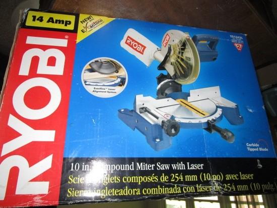 """14 AMP Ryobi 10"""" Compound Miter Saw w/ Loser in Original Box"""