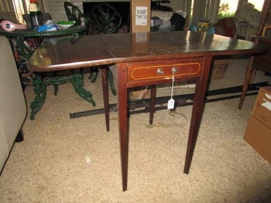 Genuine Mahogany Osborn & Irwin Inc. Drop Leaf Side Tables, Brass Pulls, Tapered Legs