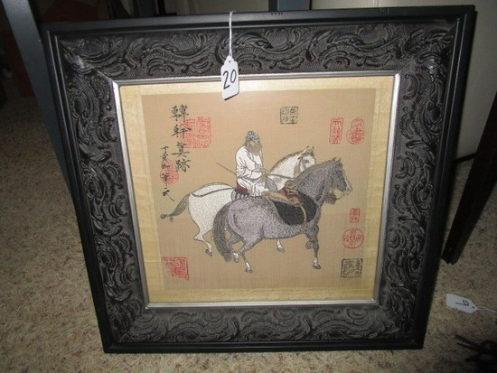 Vintage Chinese Stitch Art on Silk Man w/ Horses w/ Chinese Lettering