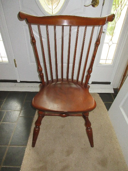 Nichols Stone Co Cherry Curved Spindle Fiddle Back Chair