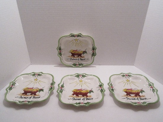 """Set - 4 Ceramic Christmas Plates Hand Painted """"Prince of Peace"""" Baby Jesus in Manger Design"""