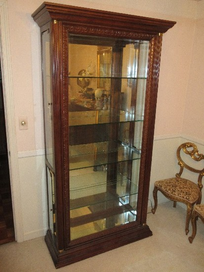 Stately Lighted Curio Cabinet w/ Mirrored Back, Beveled Glass Framed