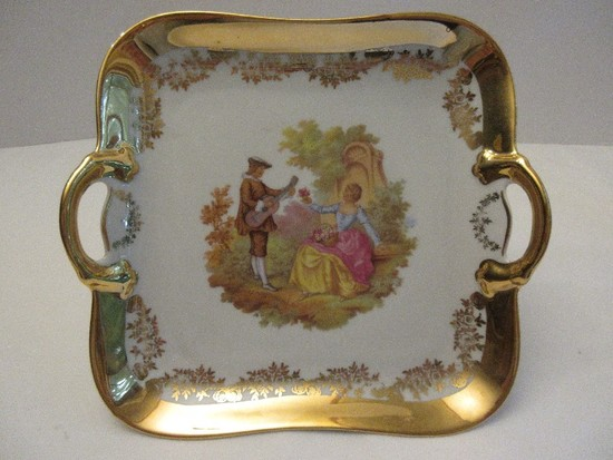 Porcelain Bavaria Germany Square Double Handled Compote Courting Victorian Couple Scene