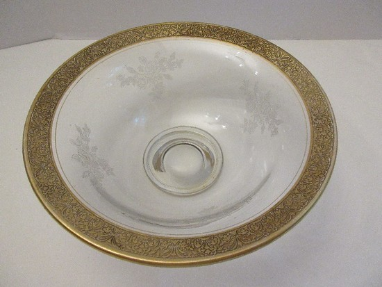 Cambridge Depression Glass Clear Footed Bowl Rose Spray Pattern w/ Gilded Embossed Rim