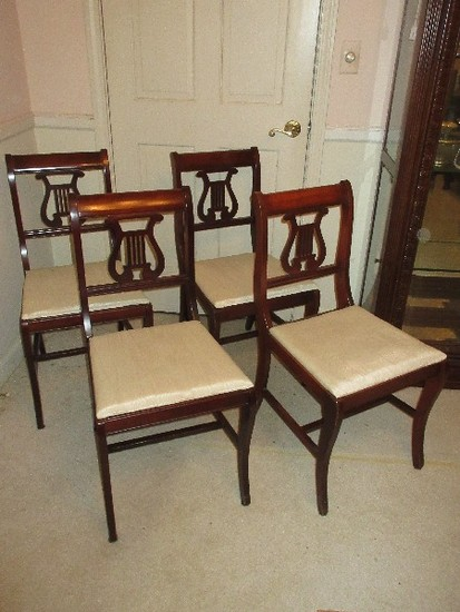 Set - 4 Mahogany Lyre Back Chairs w/ Upholstered Seats