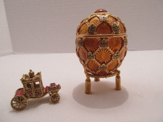 """Faberge Style Egg Imperial Treasures III Collection by Joan Rivers """"The Coronation Egg"""""""