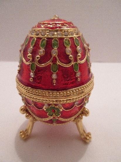 Faberge Style Egg Imperial Design Bejeweled Keepsake Trinket Box w/ Hinged Lid