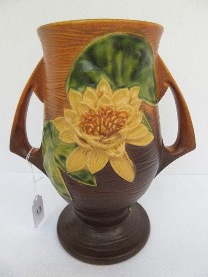 "Roseville Pottery Water Lily Pattern Brown Glaze #78-9"" Double Handled Vase"