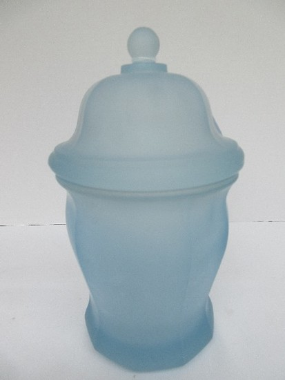 "Indiana Glass 10"" Blue Frosted Storage Jar & Lid Panel Design"