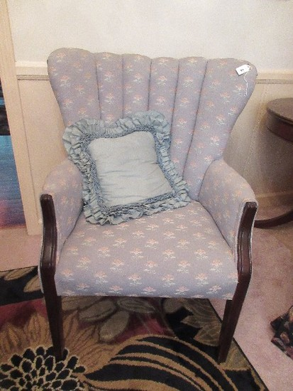 Curved Fan Channel Back Occasional Arm Chair w/ Mahogany Trim