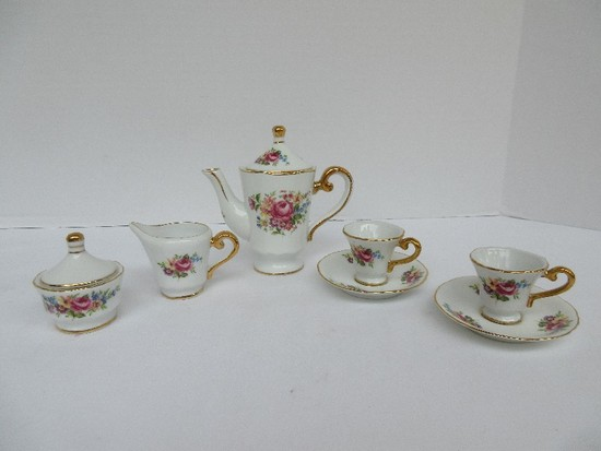 Miniature Porcelain Tea for 2 Tea Set Wild Flower Spray Transfer w/ Gild Trim