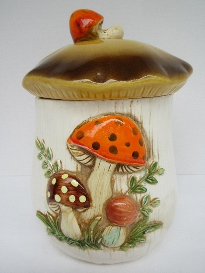 Retro Merry Mushroom Ceramic Cookie Jar by Sears Circa 1970's