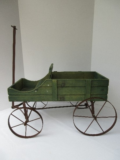 Collections Etc. Amish Design Wagon Decorative Garden Planter Green Stain Finish
