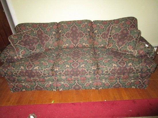 3 Seat Couch Curled Arms, Wood Feet Floral Upholstered Motif