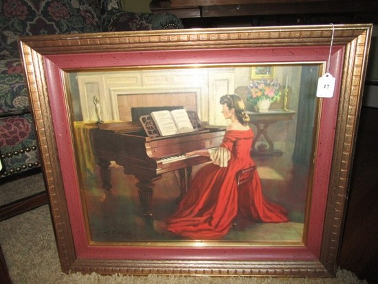 Woman Playing Piano Print Vintage Picture in Wooden Gilted Frame/Matt