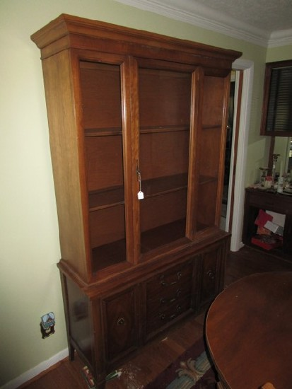 Tall Mahogany China Cabinet 2 Inlay Shelves, 3 Glass Window Fronts, 1 Door, 3 Drawers