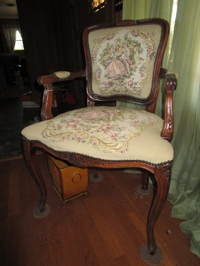 Mahogany Vintage Chair Georgian Man/Woman Upholstered Scene, Shield Back