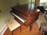 Mahogany Frame Baby Grand Piano Arrow Feet on Casters by Wm. Knade & Co.