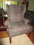 Wing Back Arm Chair Curled Arms Pin Sides, Wood Feet Floral Upholstered Motif