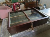 Vintage Mahogany Wood Display Case 2 Dividers, Glass Top, Brass Clasp