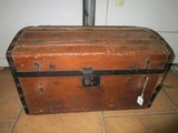 Wooden Antique Chest w/ Metal Corners/Clasps Leather Handles