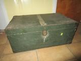 Green Wooden Storage Chest w/ Yellow Stripe Metal Corners/Clasp