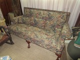 Leaf/Floral Pattern Upholstered Couch, 3 Wooden Front Feet w/ Ornate Claw/Ball Feet