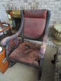 Wooden Vintage Rocking Chair w/ Leather Back/Seat, Curled Arms/Sides