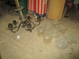 5 Armed Chandelier w/ Floral Design Glass Body/Ends w/ Glass Shades